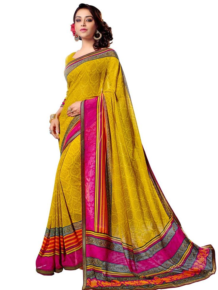 Fabulous golden yellow color block print #Georgette #Saree with lace border. Item Code: SUL14051 http://www.bharatplaza.com/new-arrivals/sarees.html