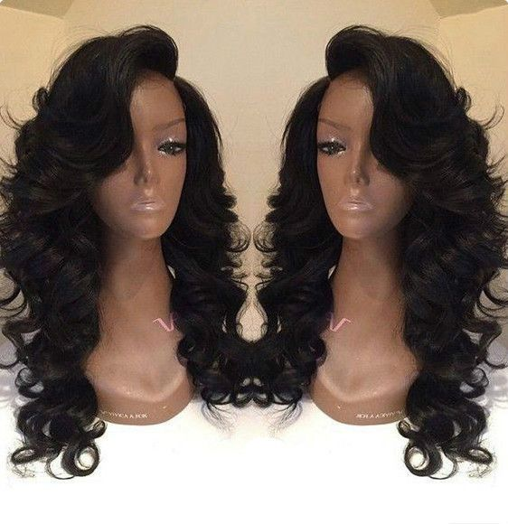 "24"" Side Bangs Wavy Long Wigs Lace Front Wigs 100% Human Hair Wigs The Same As Hairstyle In Picture - Human Hair Wigs For Black Women"