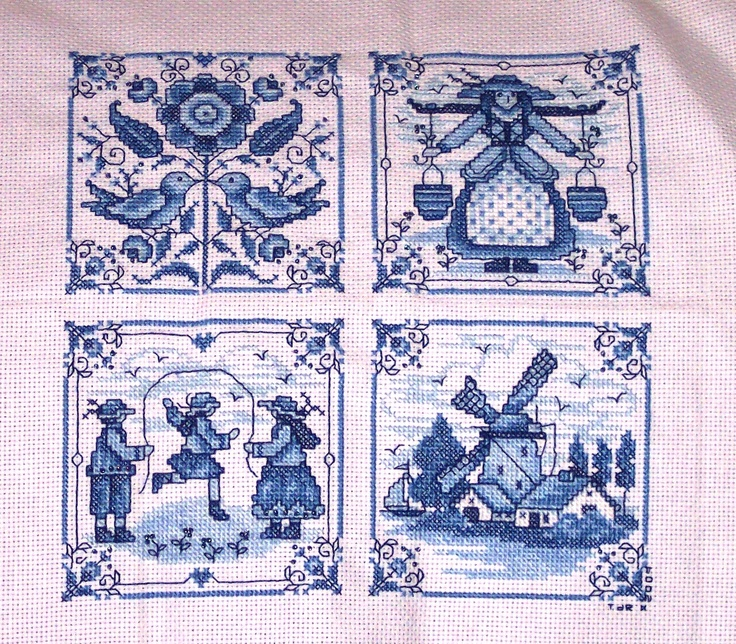 Quot Delft Blue Tiles Quot In A Beautiful Contd Cross Stitch