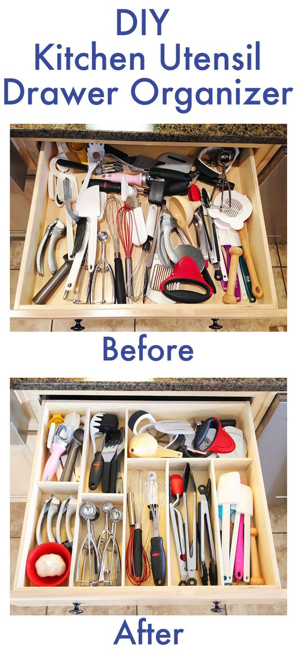 Make your own DIY Custom Wood Kitchen Utensil Drawer Organizer! Super easy and so cheap. You can do this for less than $10. Via Kevin & Amanda