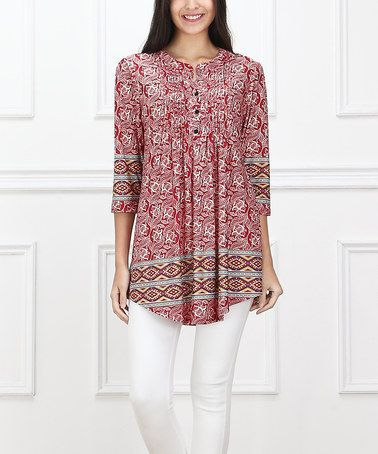 Take a look at this Red Abstract Notch Neck Tunic on zulily today!
