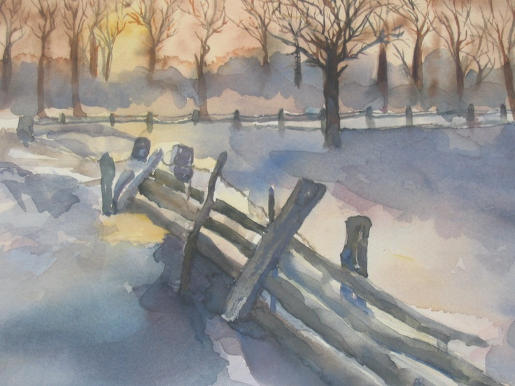 Snow fence----- painting by Arlyn