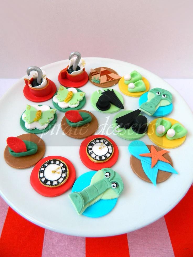 Edible Themed Cake Decoration : Edible Cupcake toppers Tic Toc Crocodile - Peter Pan ...