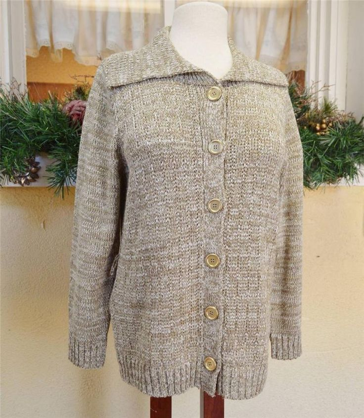 Evan Picone Ribbon Knit Sweater Coat ML Khaki White Metallic Winter Party #EvanPicone #Sweatercoat