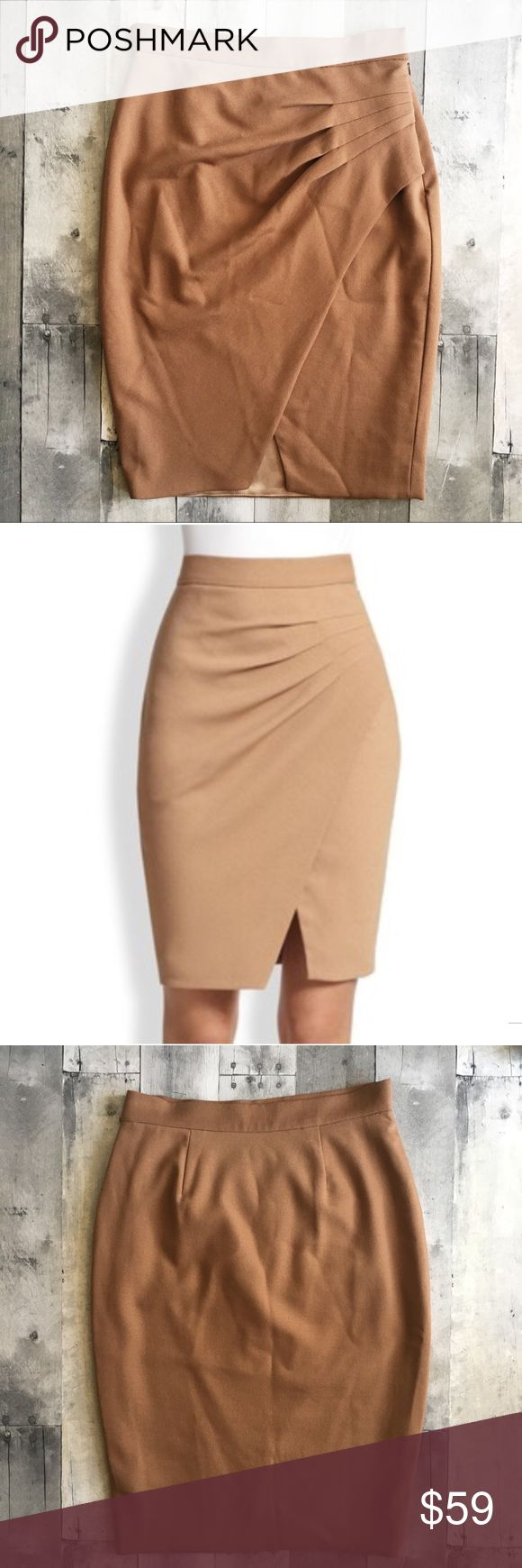 "L'Agence Asymmetric Draped-Pleat Wrap-Effect Skirt L'Agence pencil skirt with a figure-flattering silhouette. Side pleats wrap around at an angle forming an asymmetric drape. Moderately high waist. Tan / camel. This skirt is modest enough for work but also loves to party on a night out or dress up for a wedding! Outer shell: polyester/viscose/wool/Lycra blend. Lining: polyester/spandex. Size 4. Approximate measurements when laid flat: waist 13.5"", hips 17.5"", length 23"". Side zipper, hook…"