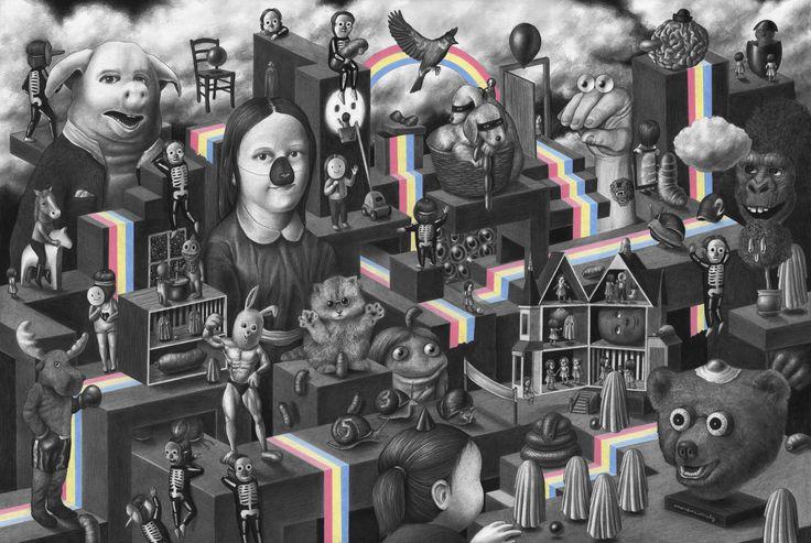 """AMANDINE URRUTY - """"Rainbows"""".   Amandine Urrutys Bild zeigt ihre eindrucksvolle Fähigkeit Extreme zu kombinieren. """"Bei diesem speziellen Gemälde hatte ich die Idee, ein skurriles, mentales Labyrinth zu erschaffen. Eine Reflexion des eigenen Fantasielebens, von Träumen bis hin zu süßen Albträumen"""", erklärt sie, """"eine Nachtwanderung sozusagen."""""""