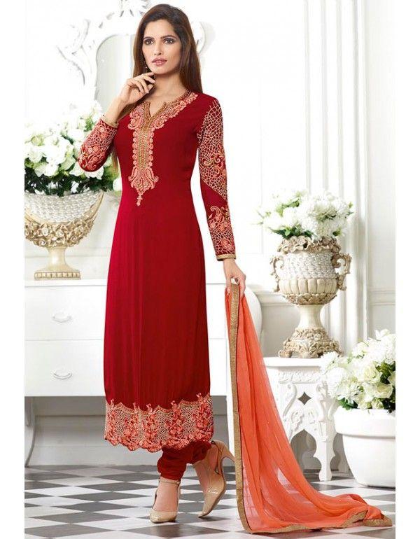Ravishing Rust Red #Churidar #Kameez Set