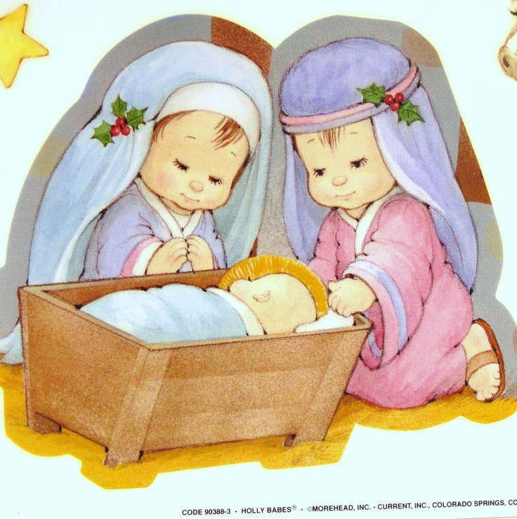 Retro Holly Babes Nativity Set Window Clings - Darling Large Ruth J Morehead…