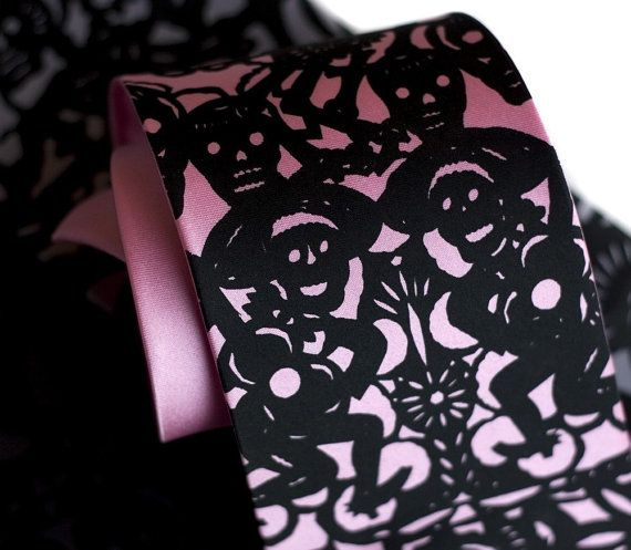Papel picado screenprinted silk necktie. Dia de los Muertos. Black ink. Choose standard or narrow.