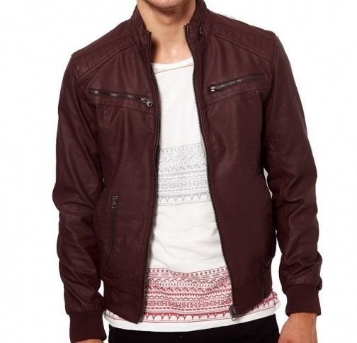 Men's Burgandy Biker Leather Jacket