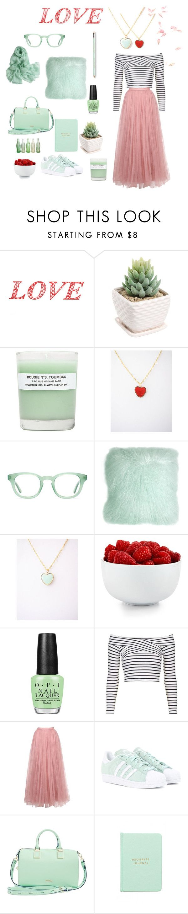 """""""Pastel love"""" by nuann ❤ liked on Polyvore featuring WALL, A.P.C., Aframes, Pillow Decor, The Cellar, OPI, Topshop, Little Mistress, adidas Originals and Rebecca Minkoff"""