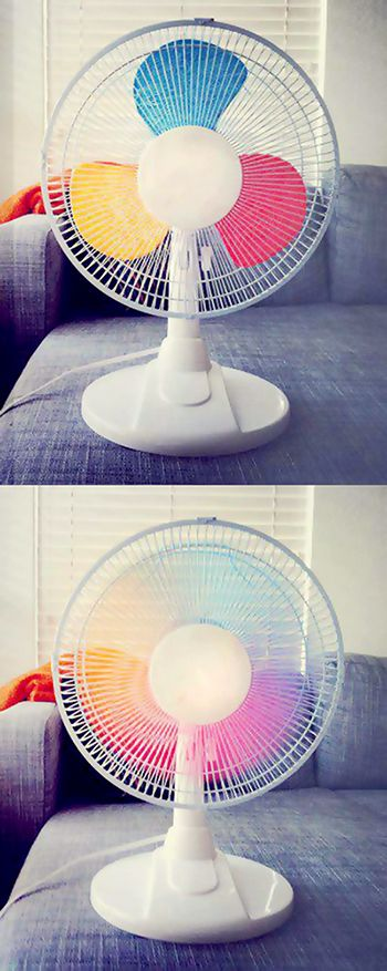paint each blade of a fan a different color, and when you turn it on you get a rainbow!