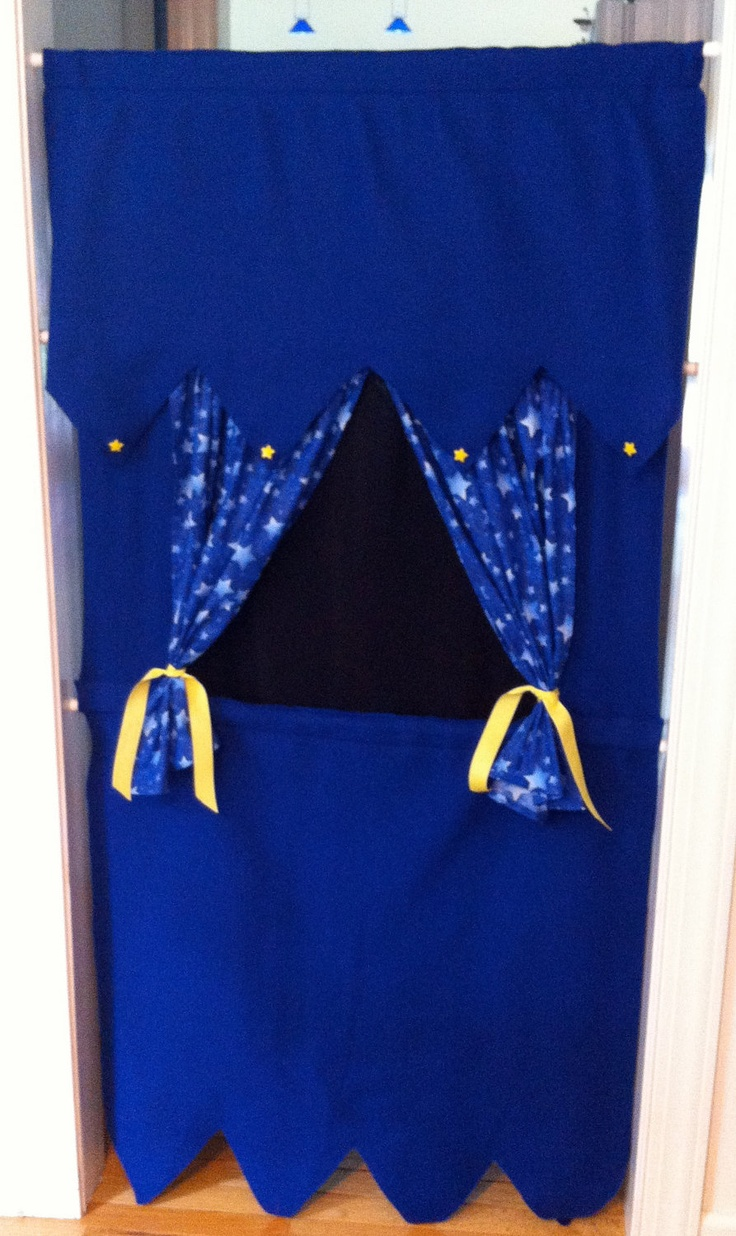 Doorway Puppet Theatre, using tension rods.  You can buy this one on Etsy, or just make your own..
