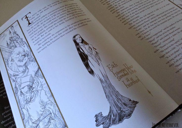 """Otro de los ejemplos de las ilustraciones del libro """"La Bella Durmienta y el Huso"""" y de la maquetación de la obra."""