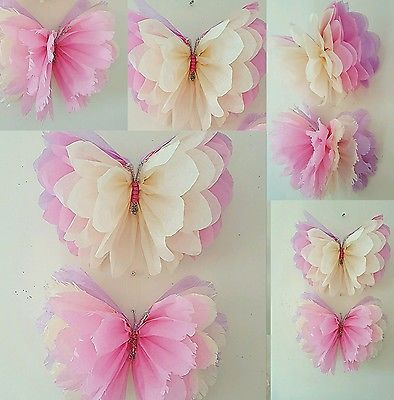 Girls birthday party decorations butterfly bedroom hanging Tissue paper pom poms