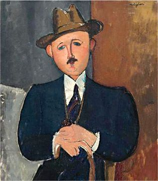 """The 1918 Modigliani painting, """"Seated Man With a Cane."""""""