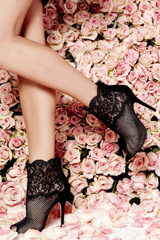 black lace mesh booties for valentine's day