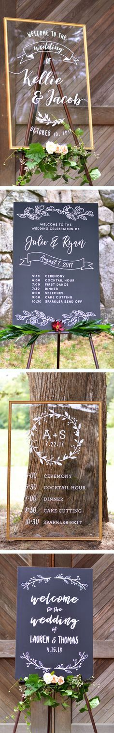 Beautiful wedding decor and keepsake! Elegant acrylic and rustic chalkboard wedding welcome signs for the ceremony and reception. Customizable greenery, floral, and simple designs, or upload your own. Browse signs at: http://www.cardsandpockets.com/wedding-signs.aspx
