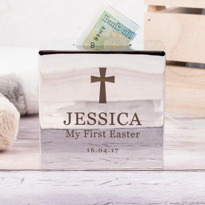 Personalised Silver Money Box - Cross | GettingPersonal.co.uk