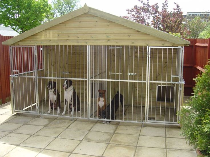 Dog house for multiple big dogs more information about for Dog kennel in garage ideas