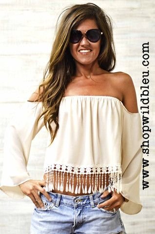 The Quinn | Wild Bleu, Salmon & Ivory crochet fringe, off the shoulder top