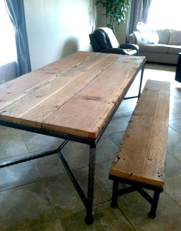 Simple welded steel table base and legs with reclaimed wood top. 19 best island top images on Pinterest   Reclaimed wood table top