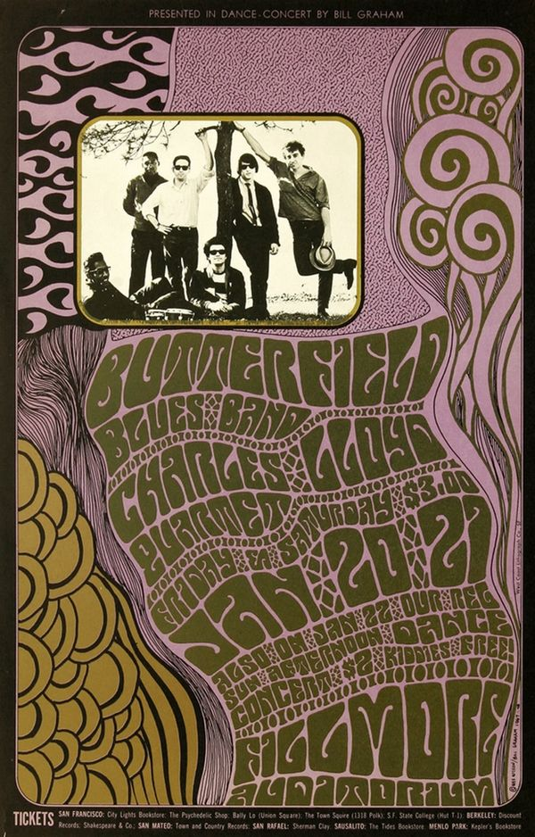 theswingingsixties:    The Butterfield Blues Band at the Fillmore Auditorium, concert poster, January 1967.