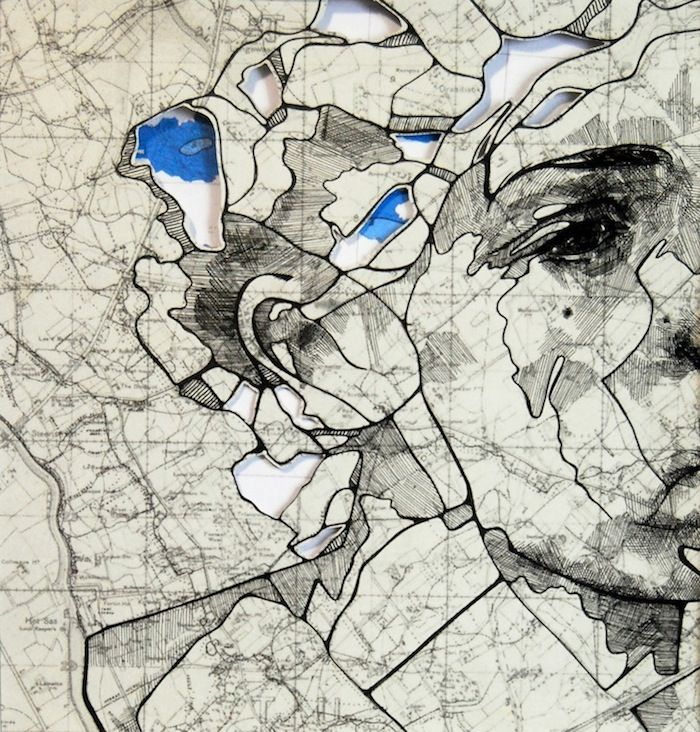 Artist Ed Fairburn has recently come out with new works that live somewhere between sculptures and drawings. Hes still using traditional ink to draw on maps but now hes cutting and layering maps to create incredibly intriguing works.