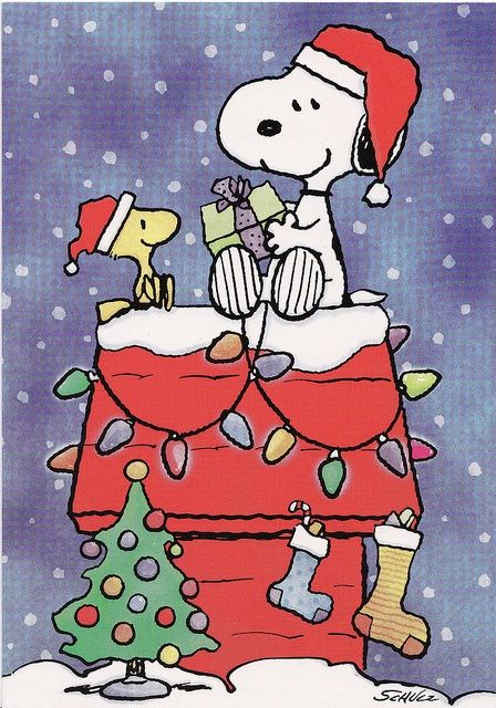 Snoopy & Woodstock sharing Christmas Presents, the Peanuts Gang.
