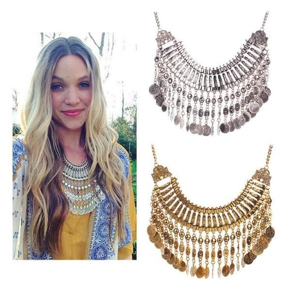 New Vintage Women Gold Silver Plated Tassel Necklaces Choker Trendy Jewelry