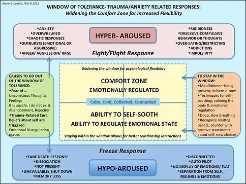Trauma changes us. Finding your window of tolerance for difficult emotions helps to keep you out of fight or flight or freeze.