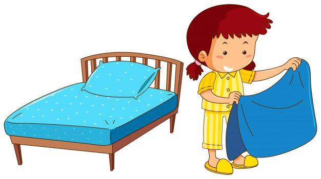 Kid In Bed With Sleeping Mask Cartoon Clipart Vector
