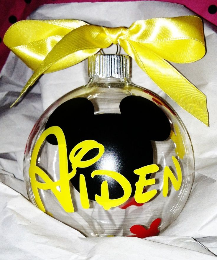 diy disney ornaments | Personalized mickey or minnie mouse ornament. Great gift for anyone..