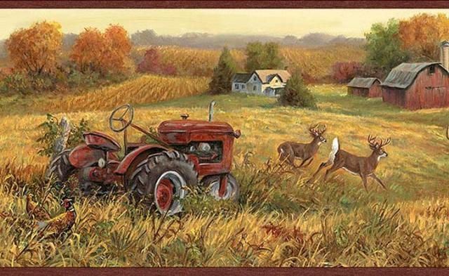 Farm Scene Landscapes LL50221B Fall Deer and Farm Scene
