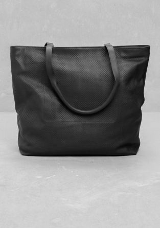 & OTHER STORIES A soft leather tote with an edgy, industrial-looking texture.