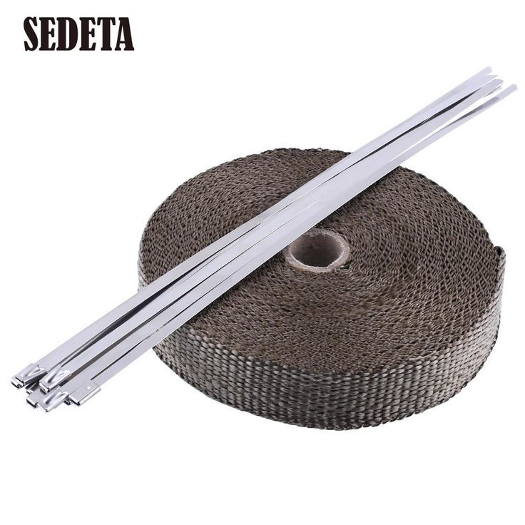 """OEM Titanium Thermal Header Exhaust Pipe Tape Heat Insulating Wrap Puce 1""""x50' Roll With Durable Steel Ties Kit"""