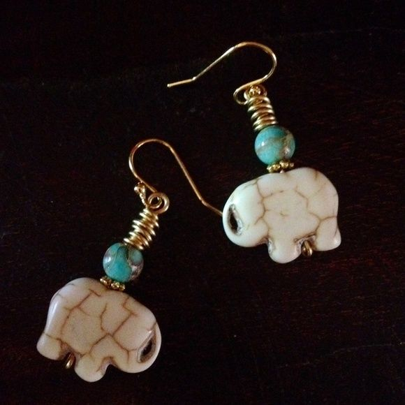 "Tribal Elephant Earrings Bohemian Tribal White Turquoise Howlite Elephants with Sky Blue  Sea Jasper and Gold WireWrap. Gold Plated Earwires 1 1/2"" DesignsByKaren Jewelry Earrings"