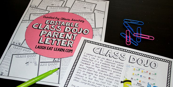 FREEBIE Editable Class Dojo Parent Letter by Laugh Eat Learn --- At the beginning of the year I send home a copy of this parent letter so I can get the parents involved as well. It makes everything easier when the parents are on board as well! All they have to do is fill it out and send it back. You are able to enter their emails (multiple emails too for each child!) from your account so there is nothing more the parents need to do.