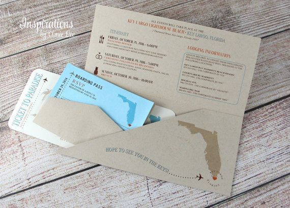 Boarding Pass Wedding Invitations by InspirationsbyAmieLe on Etsy