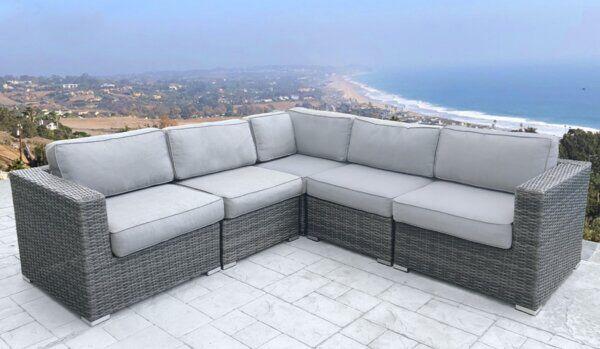 Eldora 94 Wide Outdoor Wicker Patio, Burruss Patio Sectional With Cushions Canada