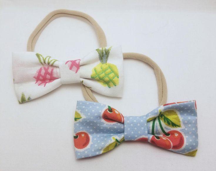 fruit headbands, pineapple headbands, cherry headbands, fruit bows, food bows, baby headbands, nylon headbands, super stretchy headbands by BowtiqueByNicole on Etsy