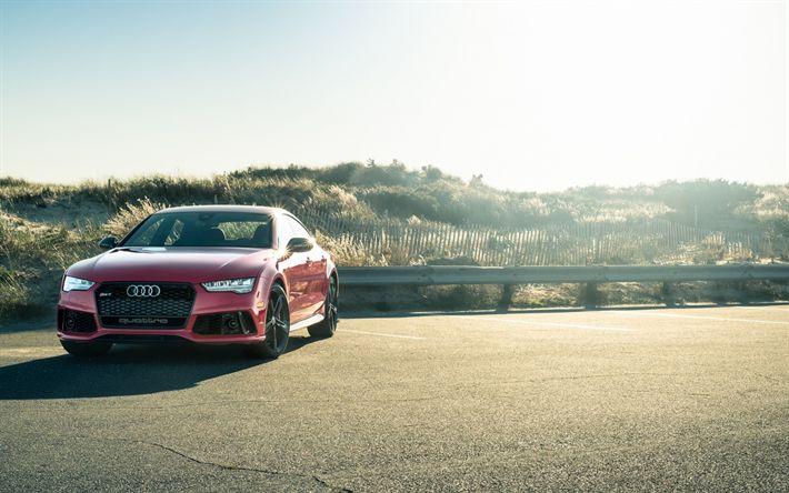 Download wallpapers Audi RS7 Sportback, 2017, Red RS7, tuning Audi, black wheels, German cars, Audi