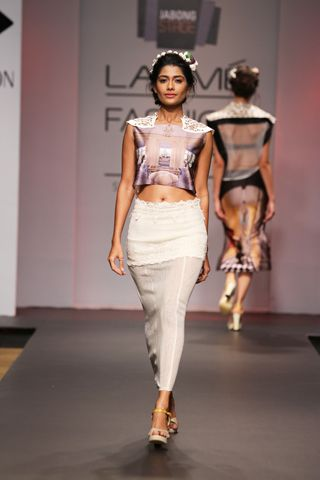 Printed crop top and pencil skirt with cut work embellishment