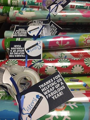 """Thanks for helping us wrap up a fabulous year!""  We love this creative Pop-By idea and tag.  #christmas #diy #wrappingpaper #popby #realestate"