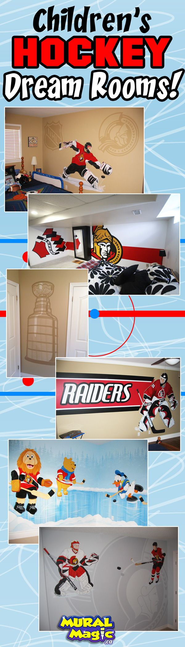 Mural paintings of hockey themes for children's rooms and man caves in Ottawa Ontario. Ottawa Senators, Montreal Canadiennes, Toronto Maple Leafs, NHL