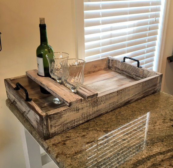 About This Item Item Dimensions Are 24 X 13 X 4 Large Wood Serving Tray With Wine Glass And Bottle Holder Perf Serving Tray Wood Diy Serving Tray Rustic Wood