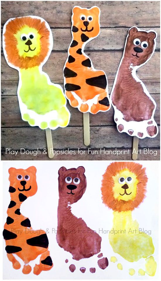 How to make Lion, Tiger, & Bear Wizard of of Puppets using Footprints!
