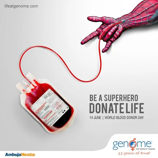 Every blood donor is a superhero. Donate blood, save life. Genome supports the noble cause of blood donation as the gracious gift to someone's life.