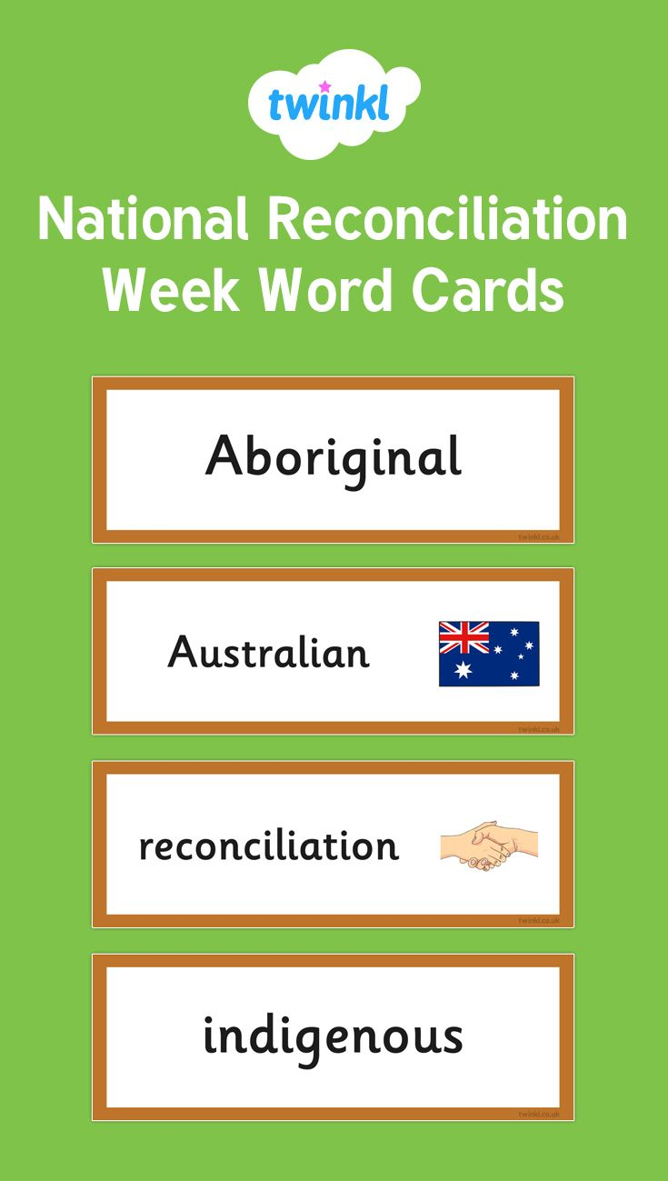 A set of colourful word cards (four per A4) which cover the main vocabulary used during National Reconciliation Week. These can be used as an aid to independent writing or as a themed wall display.
