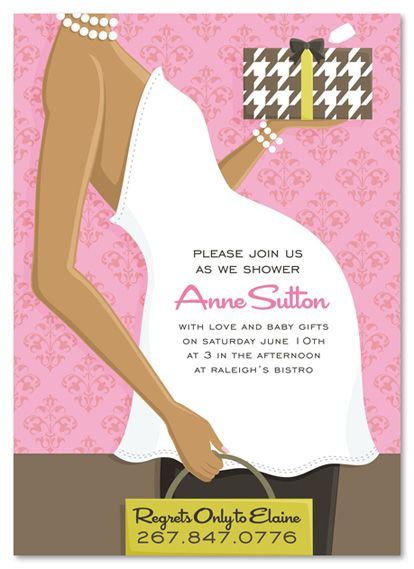 African American Pink Belly Baby Shower Invitations, 20530